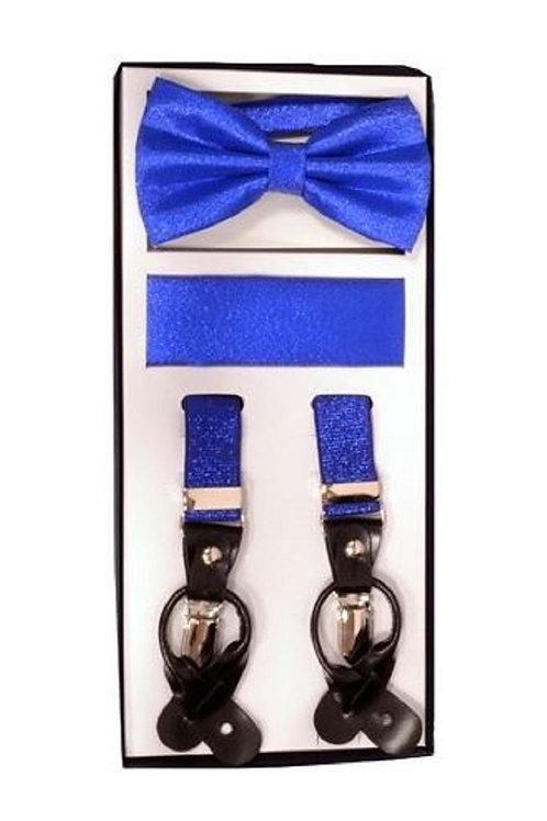 Royal Blue Metallic Suspender Set