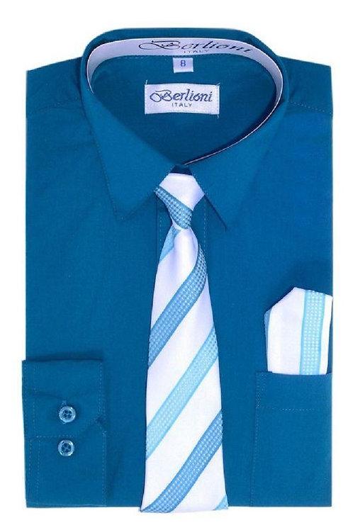Boys Teal Dress Shirt Tie & Hanky Set Size 10