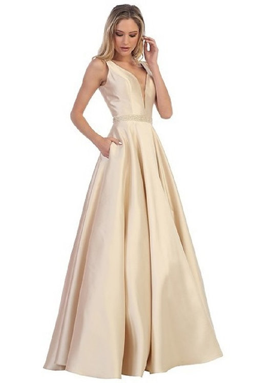 Champagne Satin A-Line Bridal Gown with Pockets Size XL