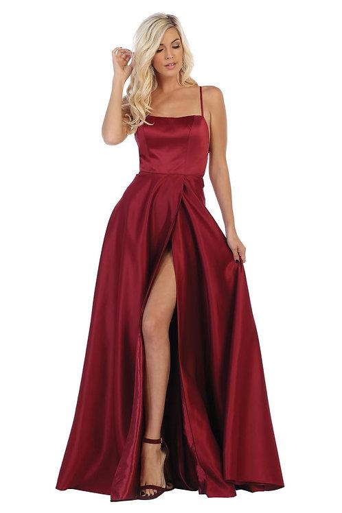 Burgundy Satin Long Dress Size 10