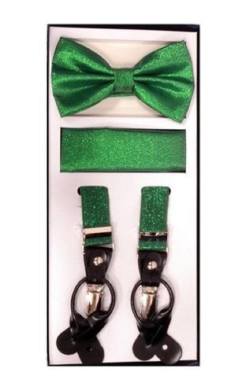 Green Metallic Suspender Set