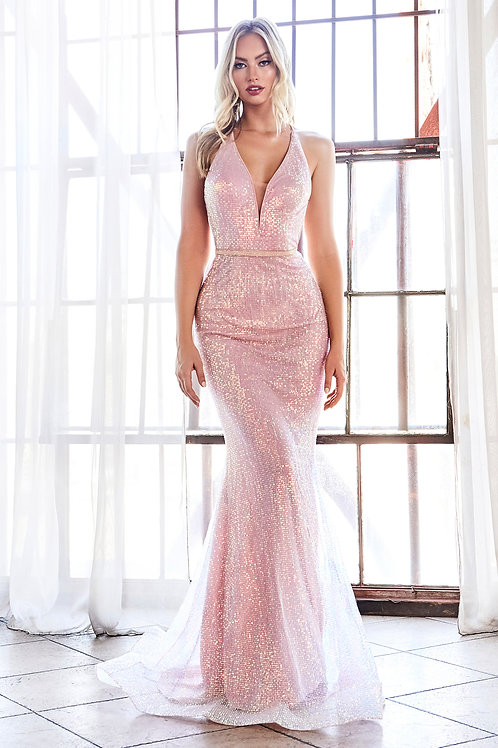 Blush Opal Sequin Long Dress Size 8