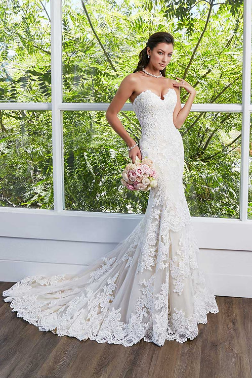 Ivory/Light Gold Fit & Flare Strapless Lace Bridal Gown Size 0