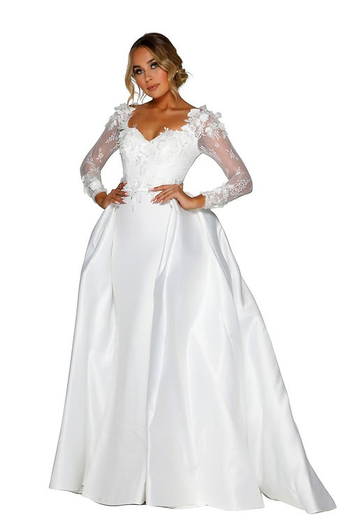White Bridal Gown with 3D Floral Lace Size 8