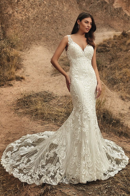 Ivory/Champagne Lace Fit & Flare Bridal Gown Size 14