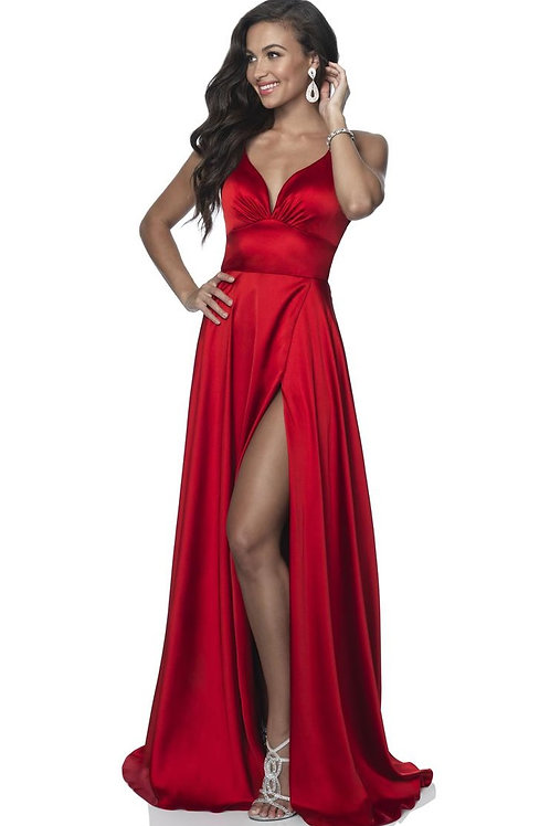 Red Satin Long Dress Size 8