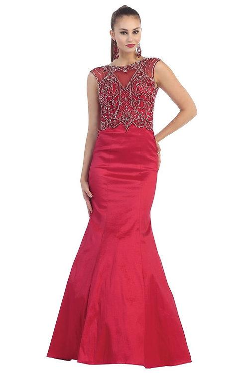 Wine Fit & Flare Long Dress Size 4