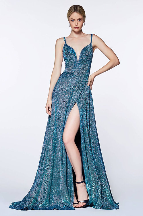Blue Metallic Long Dress Size 6