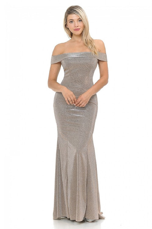 Taupe Metallic Off Shoulder Long Dress Size M