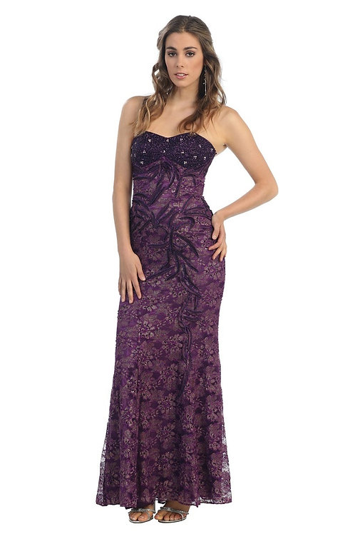 Eggplant Strapless Long Dress Size 16