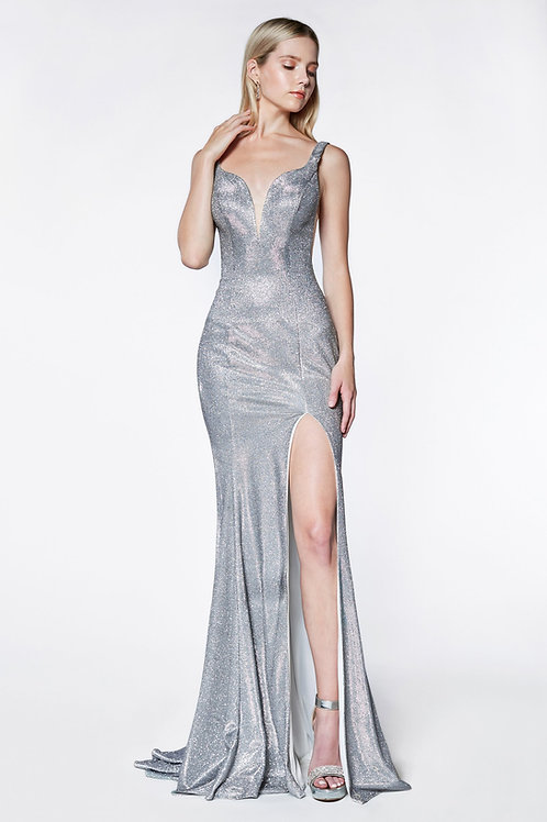 Silver Glitter Long Dress Size 8