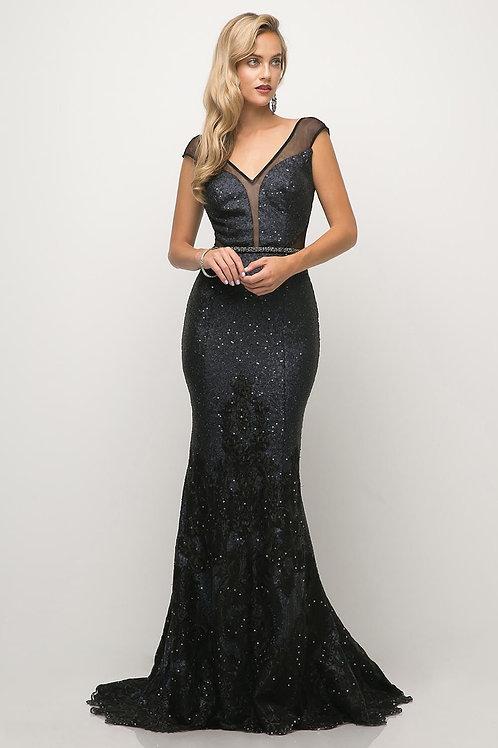 Navy Sequin Long Dress Size 10
