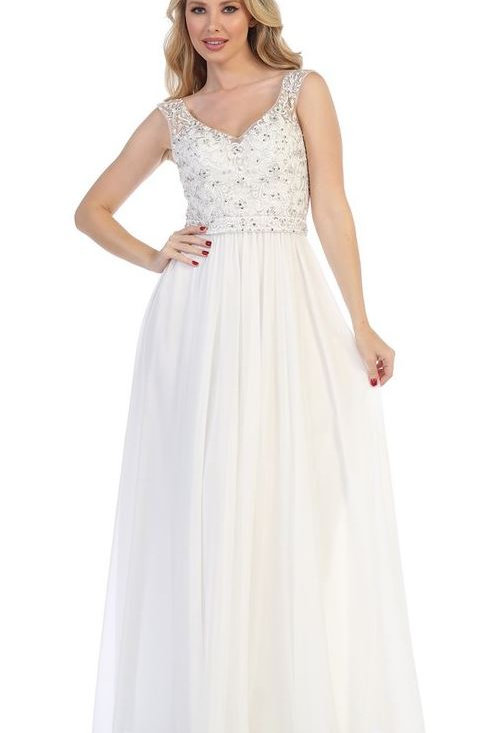 Ivory A-Line Semi Formal Bridal Gown Size L