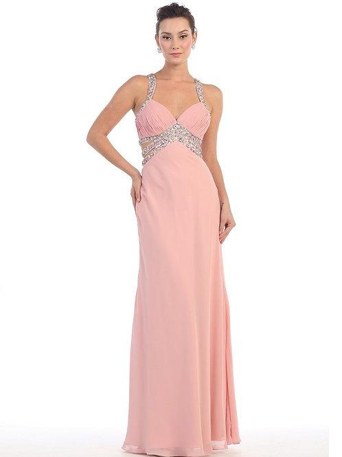 Blush Jeweled Long Dress Size 10