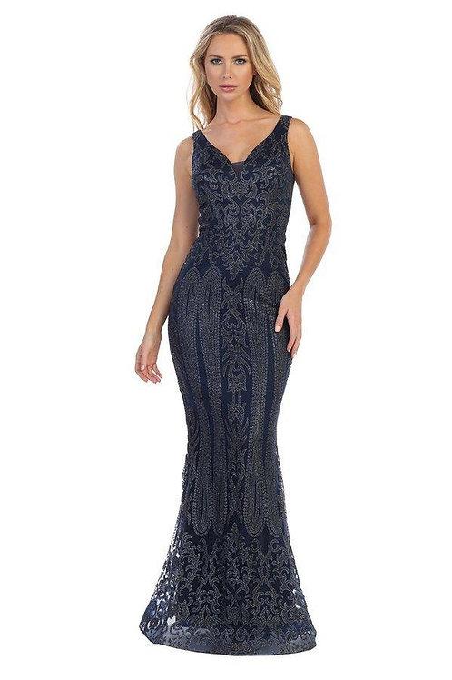 Navy Fit & Flare Glitter Long Dress Size S