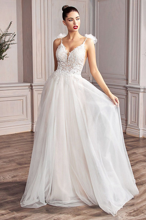 Off White Shimmering Lace A-Line Bridal Gown Size 6, 10