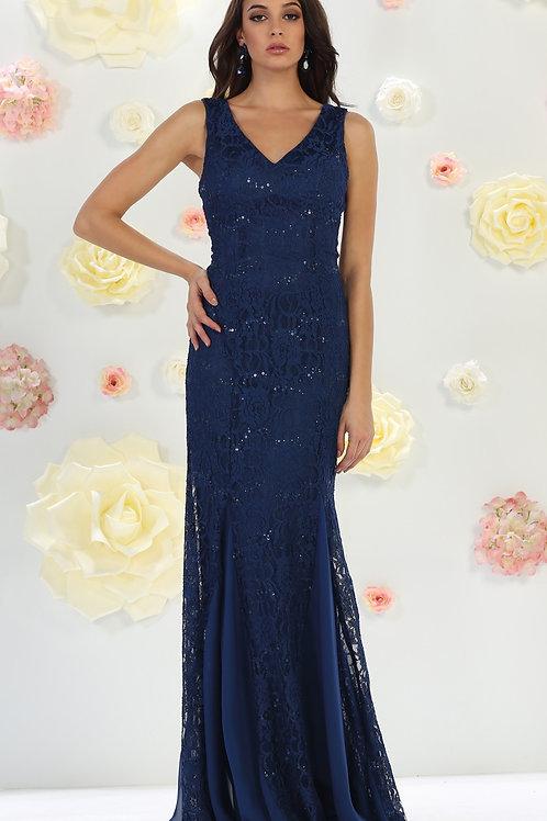 Navy Lace Long Dress Size 14