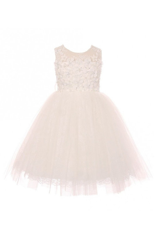 Girls Ivory Floral Applique Short Dress Size 2
