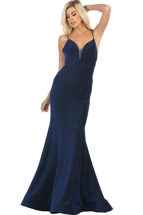 Royal Blue Glitter Long Dress Size 8
