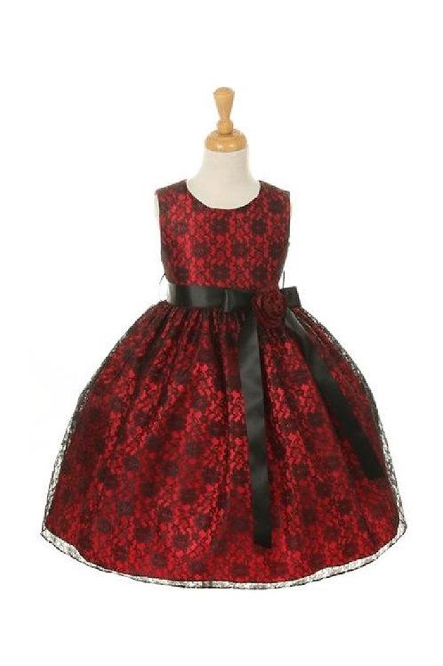 Girls Red & Black Lace Short Dress Size 4
