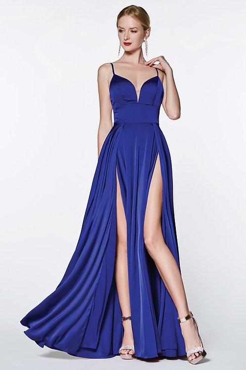 Royal Blue Satin Long Dress Size 2