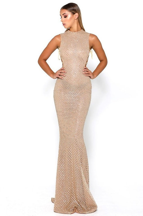 Gold Glitter Long Dress With Lace Up Sides Size 0, 4