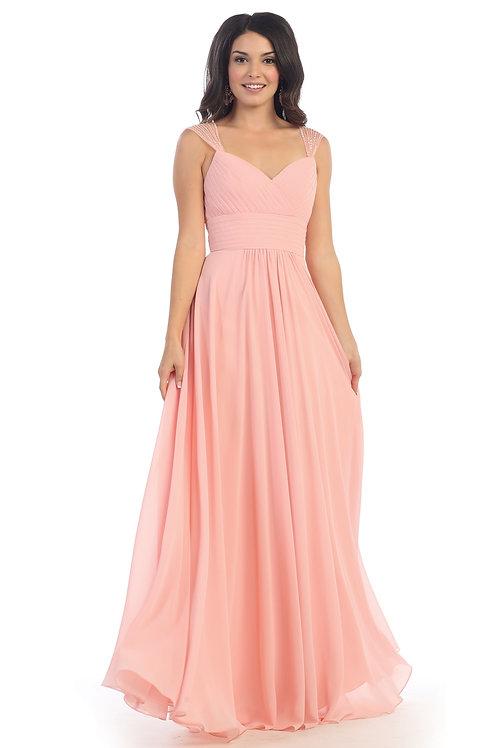 Blush Chiffon Long Dress Size 8
