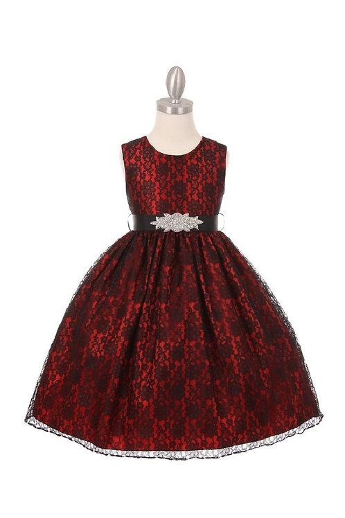 Girls Red & Black Lace Short Dress Size 6