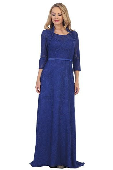 Royal Blue Lace Long Dress With Jacket Size M
