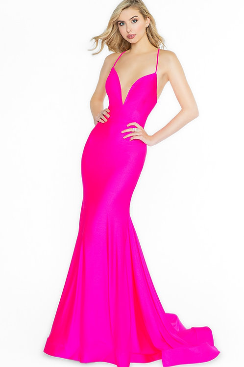 Hot Pink Fit & Flare Long Dress