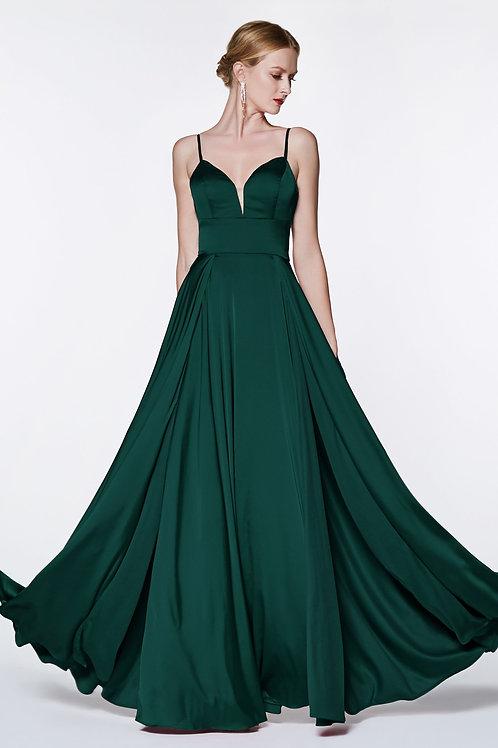 Emerald Satin Long Dress