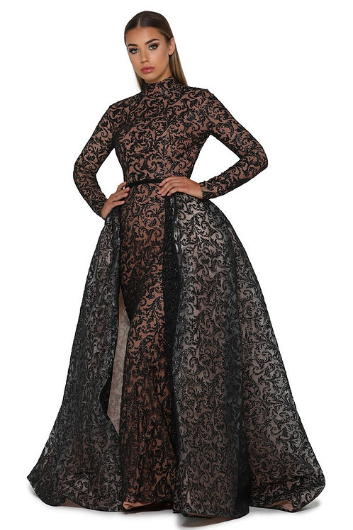 Black Glitter Long Dress With Detachable Train Size 0