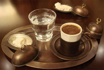 Turkish coffee and water