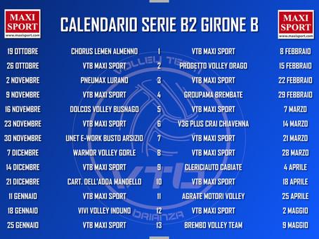 Pubblicato il calendario del girone B di Serie B2