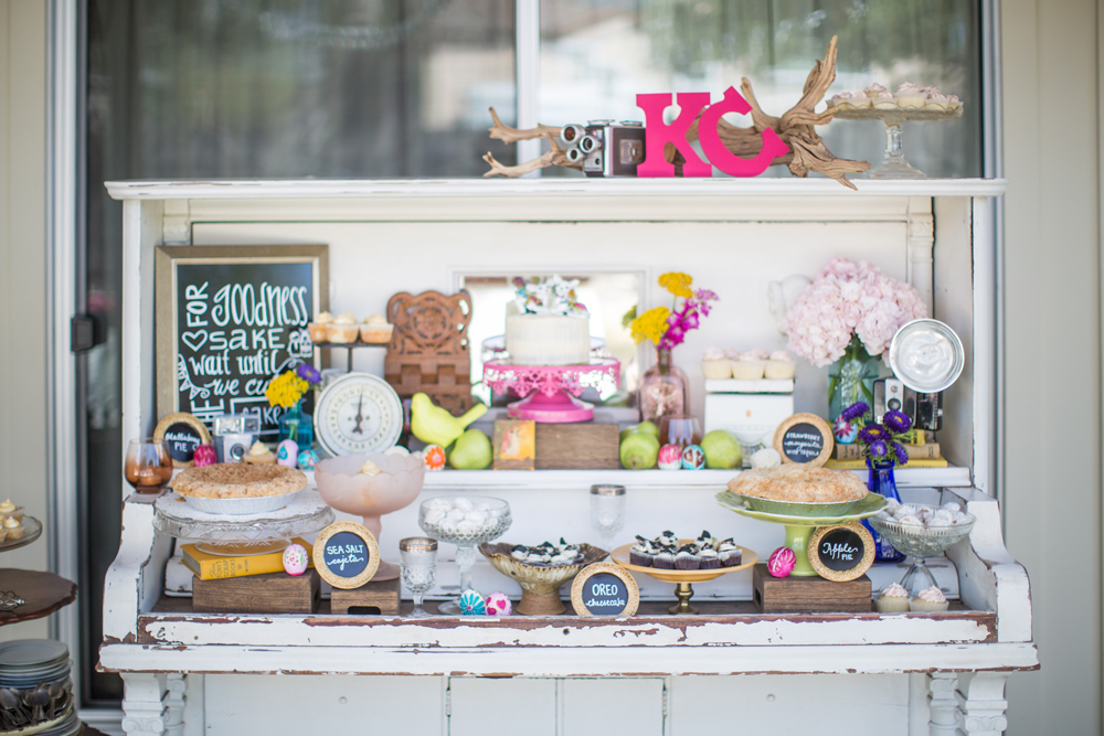 A very colorful dessert station.