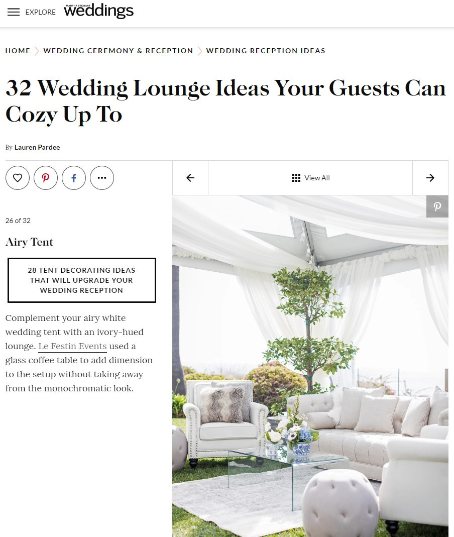 Le Festin Events Lounge Featured on Martha Stewart Weddings