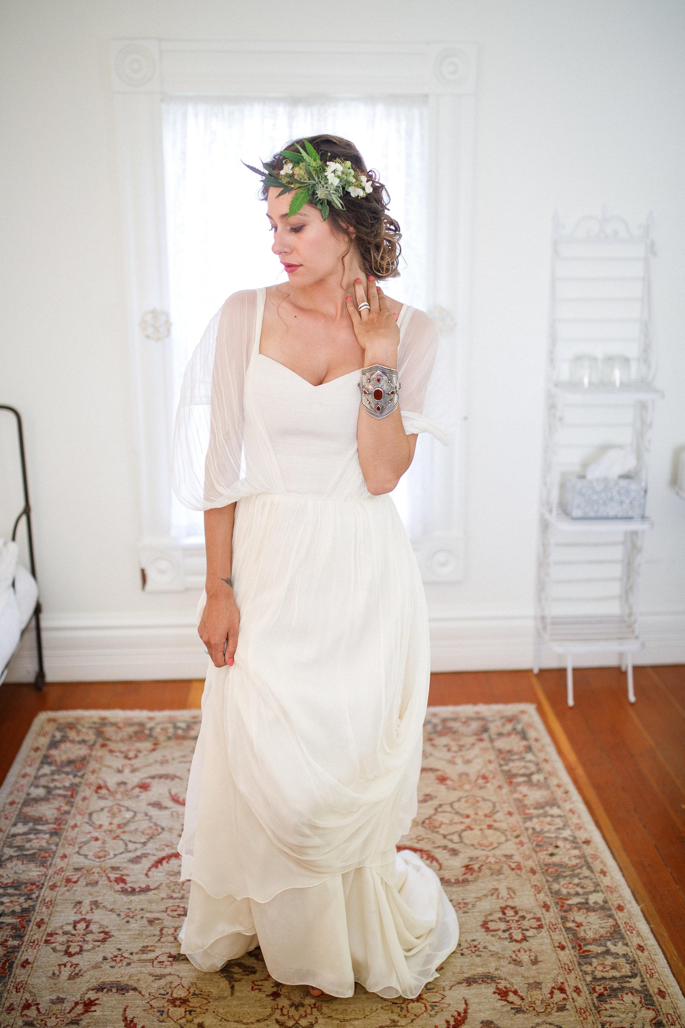 Hemp and raw silk dress - Larimeloom