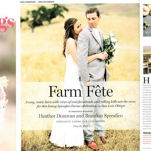 "Spreafico Farms Wedding | Featured on California Wedding Day ""Real Weddings"" Magazine 