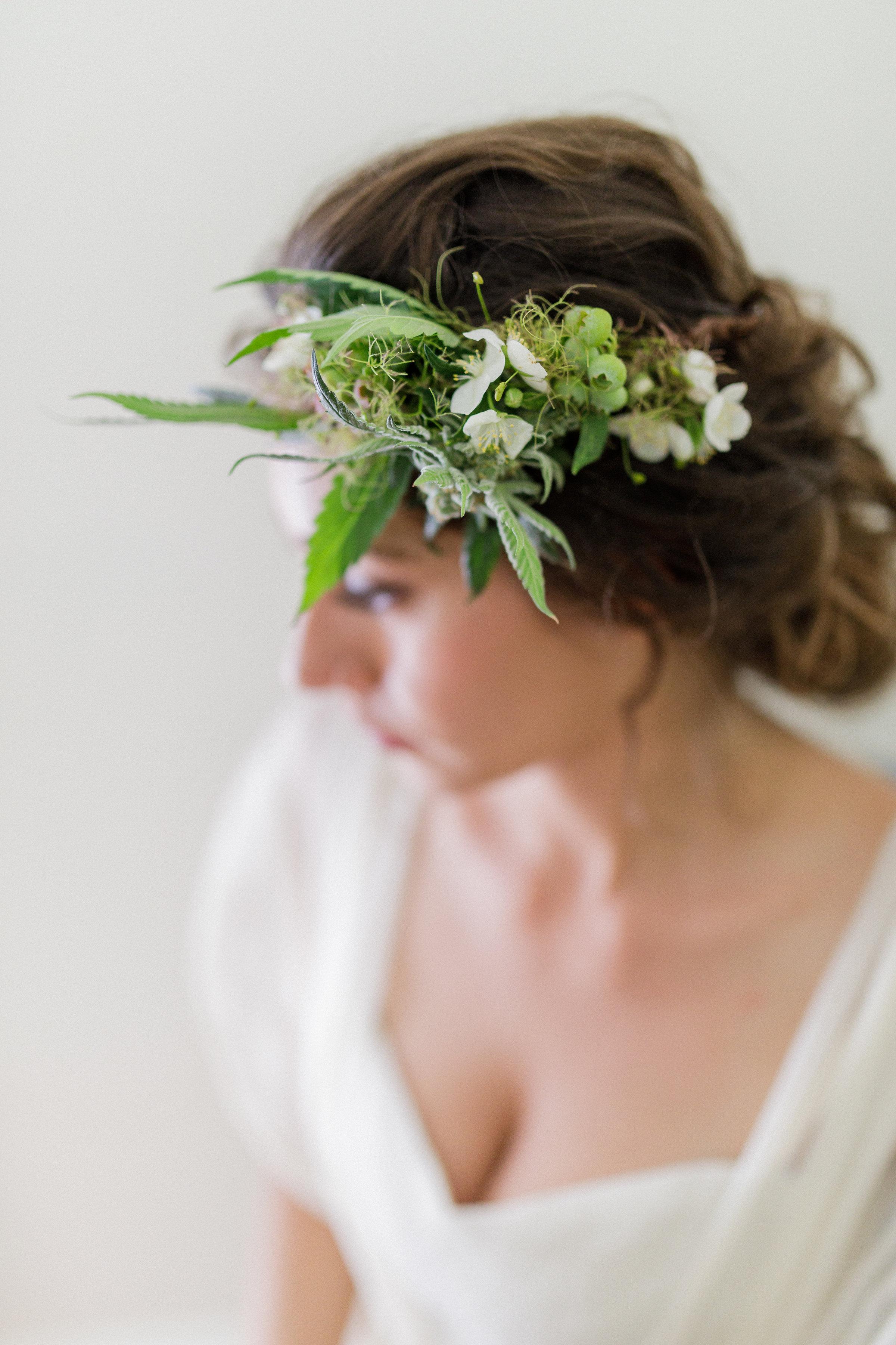 Cannabis floral head wreath.