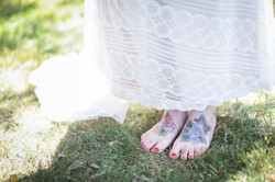 Yes, the bride wore no shoes!
