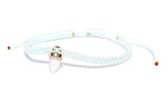 Makramee Opal Horn Armband/Fußkette