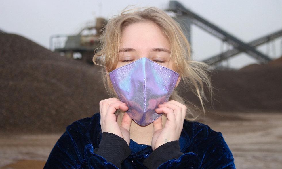 Holo Rosa Blau Kunstleder FFP2 & KN95 Masken Überzieher- hannisch