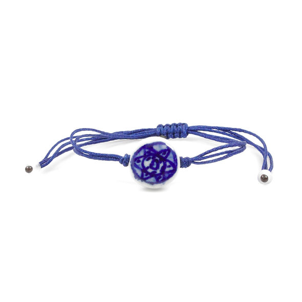 Kordel Boho Porzellanperle Silber Armband/Fußkette