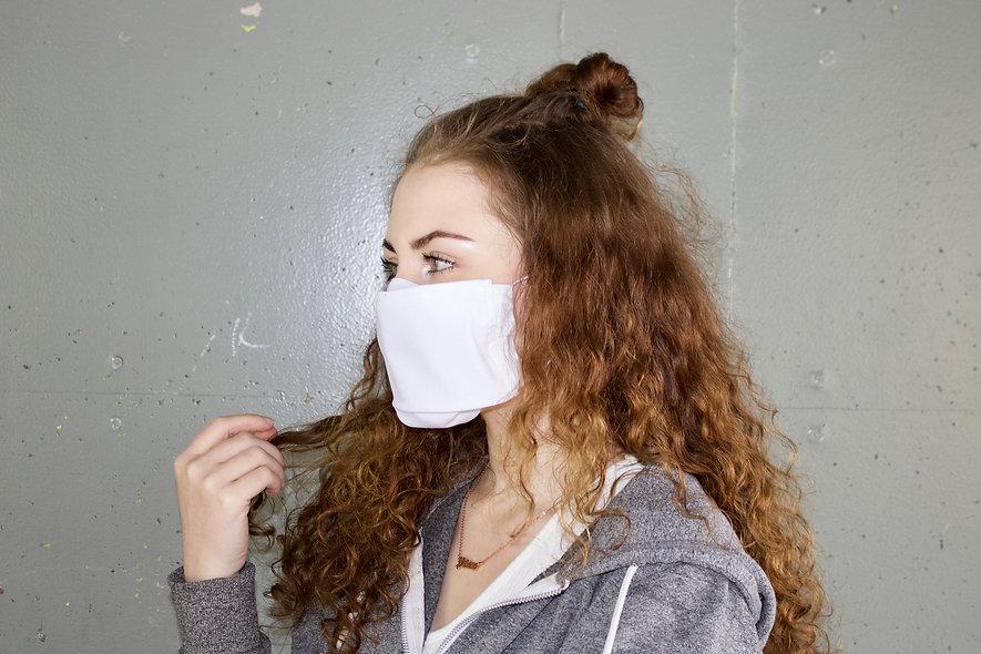 Weiß Baumwolle Flap Maske- hannisch