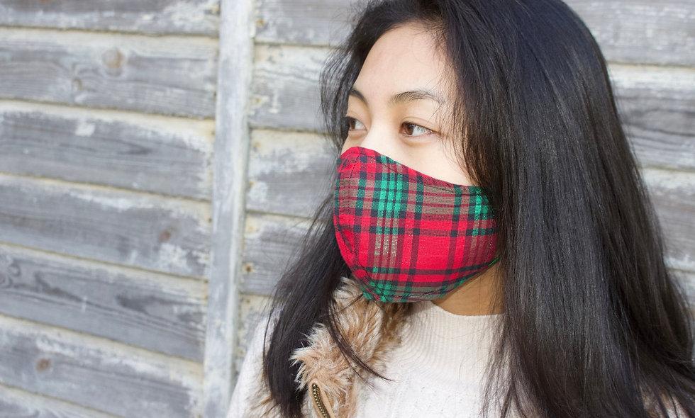 Glänzend Schimmernd Glitzer Rot Grün Karo Kariert Baumwolle Maske- hannisch