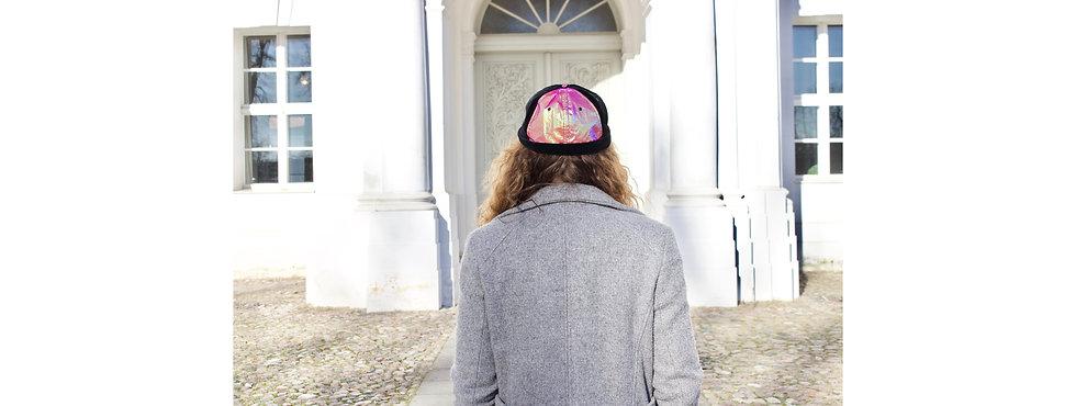 Holographic Pink Folie Samt Docker Cap mit Tasche- hannisch