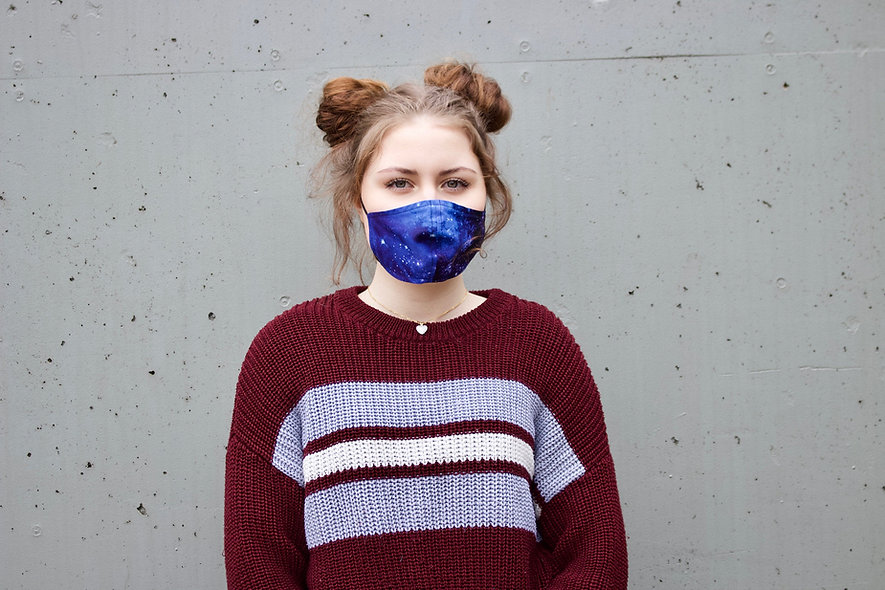 Galaxy Dunkel Blau Baumwolle Maske- hannisch