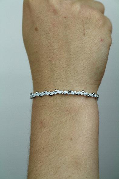 Makramee Silber Tiny Perlen  Armband/Fußkette