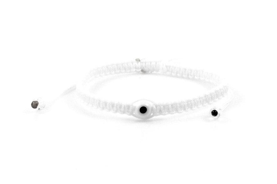 Makramee Evil Eye Weiß Transparent Perle Kugel Armband/Fußkette