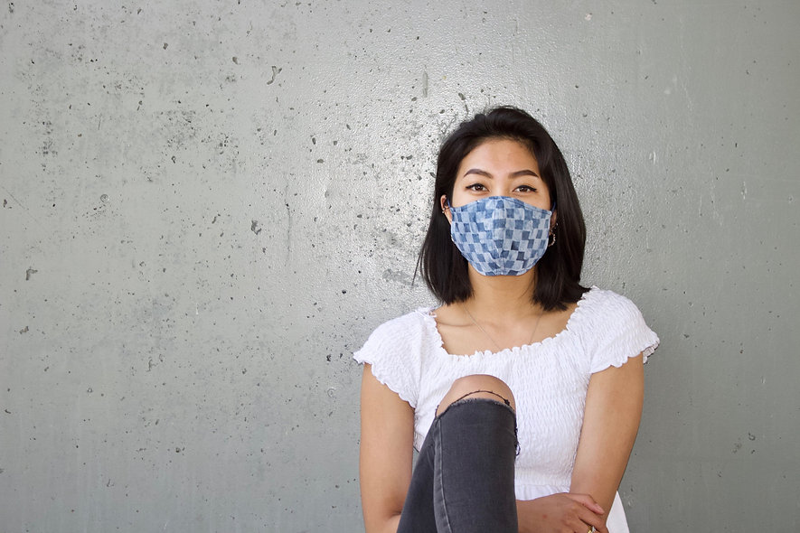 Karo Batik Blau Maske- hannisch